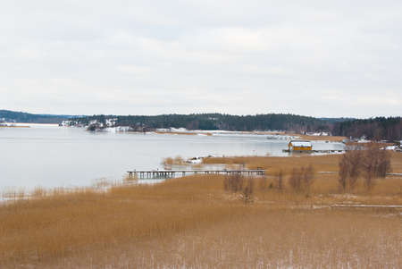 brackish water: Seascape with snow at the east coast in Sweden.