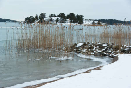 brackish water: Seascape with snow and ice at the east coast in Sweden.