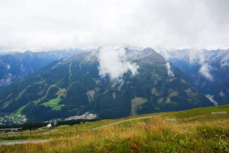 mountainous: View over a mountainous landscape a cloudy day in Austria