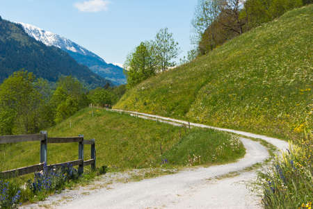 dirt road: Dirt road with a view in Switzerland in summer. Stock Photo