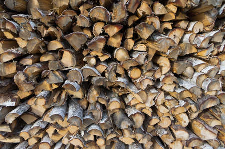 Closeup of woodpile with chunk of birch wood. Stock Photo - 14875480