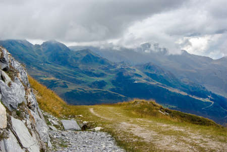 Foot path in a mountainous landscape.