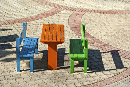 Group of small furniture at children s playground  photo