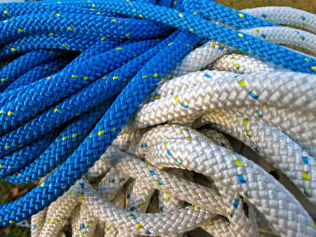 the mooring: Heap of blue and white mooring ropes    Stock Photo