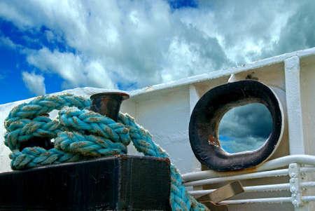 hawser: Hawser on board on a Norwegian ferry