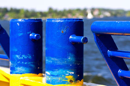 bollards: Bollards and fence on a small ferry.