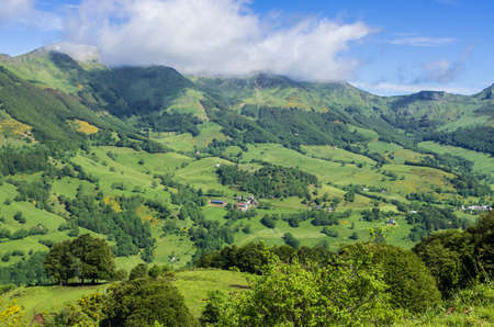 cantal: Mountainous volcano landscape in Auvergne in France.