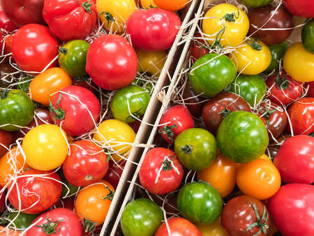 Fresh organic cultured tomatoes in different colors and flavors laying in wooden boxes at farmers market. Stok Fotoğraf