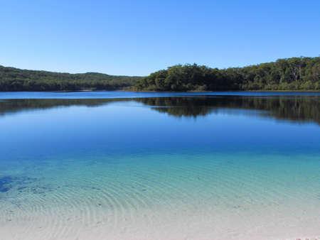 fraser island: Fraser Island Blue Lake Stock Photo