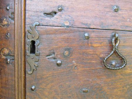 Wooden background with old lock Standard-Bild