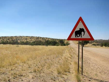 Namibia Road sign elphant