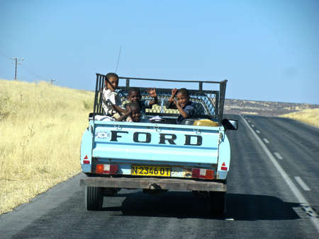 Namibian people to pick up children on