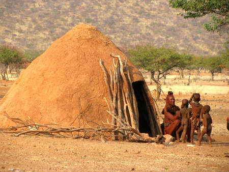 Namibia Himba people out of Their hut