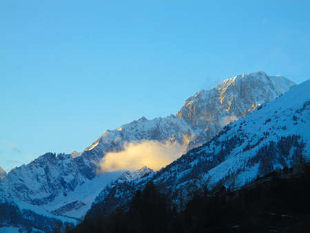 Mountains alps snow winter sunrise panoramic view mont blanc
