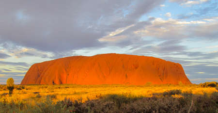 Ayers Rock, Uluru at sunset with clouds and bushes