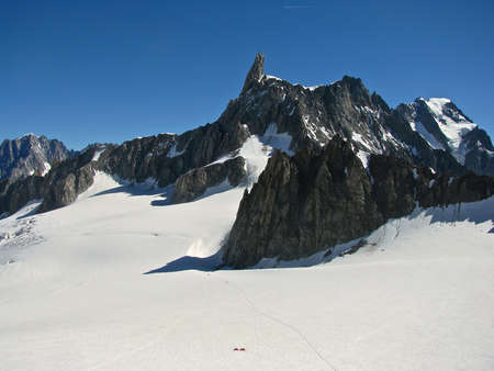 Snow mountains alps panoramic view of Mont Blanc Dente del Gigante