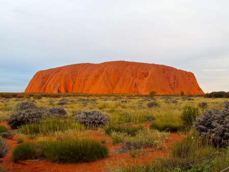 ayers: Sunset at Uluru Ayers Rock Stock Photo