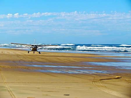 fraser island: Fraser Island, airplane on the beach 75 miles beach