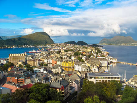 Alesund view from the hill with blue sky