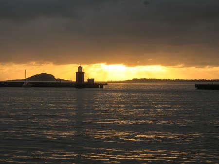 Norway port sunset ocean Mountainous