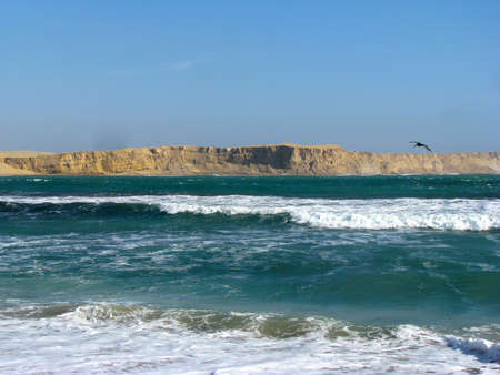 Peru cliffs and ocean Paracas