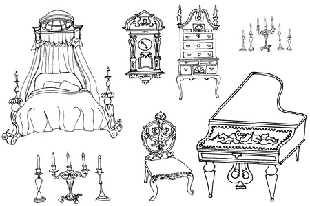 sketch of a set of furniture and antiques