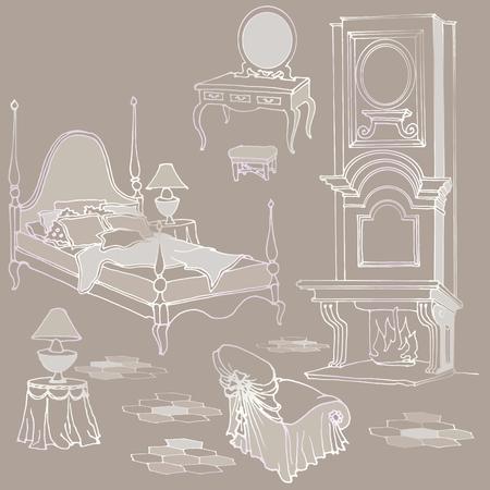 Schets van meubilair voor klassieke oude slaapkamer met open haard, een kaptafel, spiegel, fauteuil - Beige