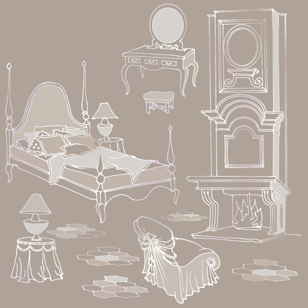 headboard: Sketch of furniture for classic old bedroom with fireplace, dressing table, mirror, armchair - beige