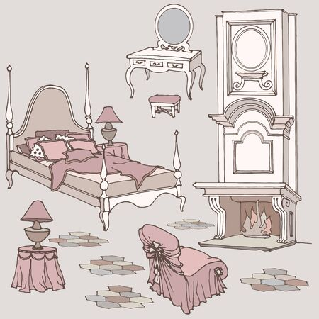 Sketch of furniture for classic old bedroom with fireplace, dressing table, mirror, armchair color mauve, viola, lilac, biege, pink