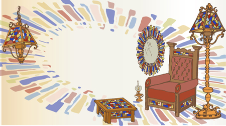 card set of furniture and decorations from wood and stained glass, stained glass and abstract spot
