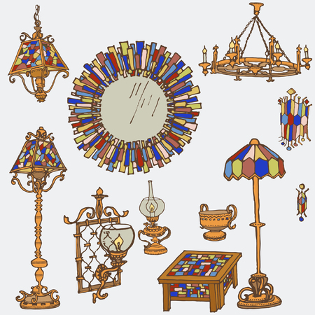 stained-glass lamps furniture-set of lights and decor, mirror, table, floor lamps with stained glass and bronze - bright color