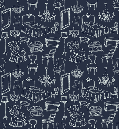 set of classic furniture - seamless, dark blue background