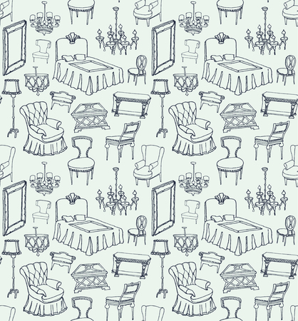 set of classic furniture seamless pattern light blue background