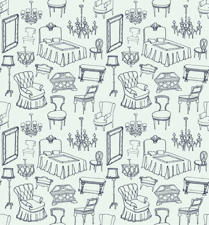 lamp shade: set of classic furniture seamless pattern light blue background