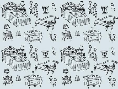 een set van naadloze patroon slaapkamer meubels, bedden, kruk, commode, nachtkastje, lamp, kaarsen, lampenkappen, kussens, dekens, woninginrichting en decor Stock Illustratie
