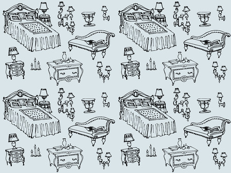 a set of seamless pattern bedroom furniture, beds, stool, chest of drawers, bedside table, lamp, candles, lampshades, pillows, blankets, home furnishings and decor