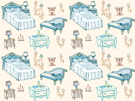 furnishings: a set of seamless pattern bedroom furniture, beds, stool, chest of drawers, bedside table, lamp, candles, lampshades, pillows, blankets, home furnishings and decor seamless pattern