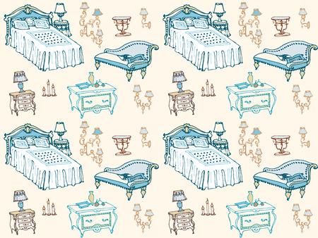 een set van naadloze patroon slaapkamer meubels, bedden, kruk, commode, nachtkastje, lamp, kaarsen, lampenkappen, kussens, dekens, woninginrichting en decor naadloos patroon