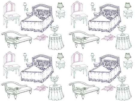 sketch of a classic bedroom furniture, bed, blanket, pillow, nightstand, lamp, mirror, stool, table, tablecloth- seamless pattern, Ilustração