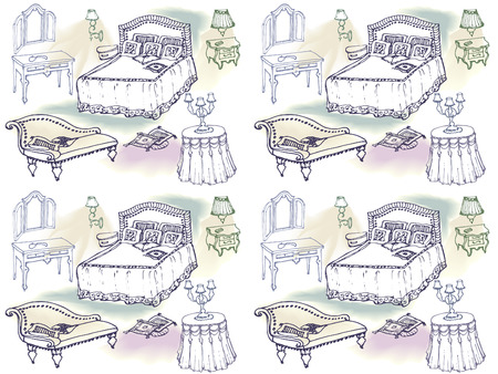 schets van een klassieke slaapkamer meubilair, bed, deken, kussen, nachtkastje, lamp, spiegel, stoel, tafel, tafelkleed -naadloze, kleur spot