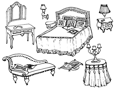 sketch of a classic bedroom furniture, bed, blanket, pillow, nightstand, lamp, mirror, stool, table, tablecloth- black and white