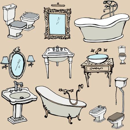 schetsen voor de badkamer in een klassieke stijl, Stock Illustratie