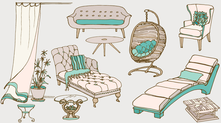 outdoor seating: set sketch of furniture for the rest for the house and yard color blue, beige