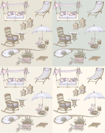 plant stand: sketch of a set of furniture and decor for the garden violet, beige pastel shades seamless