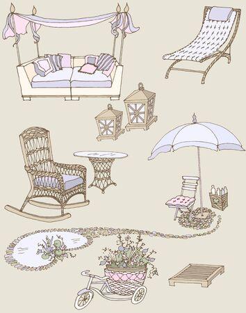 sketch of a set of furniture and decor for the garden color violet, beige Illustration