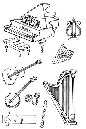 fife: outline a set of musical instruments piano, harp, lyre, guitar, banjo, maracas, fife, flute Illustration