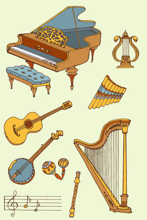 outline a set of musical instruments piano, harp, lyre, guitar, banjo, maracas, fife, flute, color
