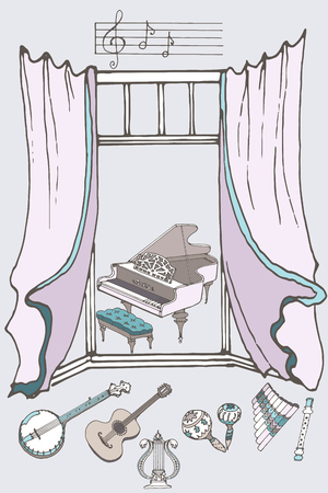fife: outline a set of musical instruments piano, harp, lyre, guitar, banjo, marokassy, ??fife, flute against the window, pastel color