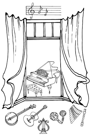 panpipes: outline a set of musical instruments piano, harp, lyre, guitar, banjo, marokassy, fife, flute against the window