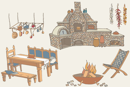 sketch of furniture and equipment for the kitchen in the yard